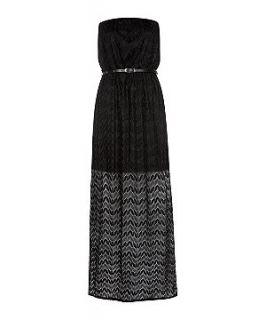 Black Crochet Belted Bandeau Maxi Dress