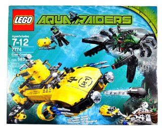 Lego Year 2007 Aqua Raiders Series Undersea Vehicle Set # 7774   Crab Crusher with Cannons, Harpoons, a Detachable Mini Sub and Launching Aqua Missile Plus Giant Monster Crab, 2 Divers and Skeleton Minifigures (Total Pieces: 583): Toys & Games