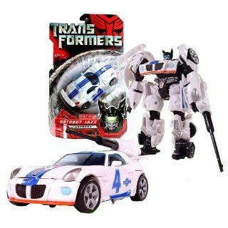 Hasbro Year 2007 Transformers Automorph Technology Movie Series Exclusive Deluxe Class 6 Inch Tall Robot Action Figure   Autobot Jazz with Exclusive G1 Deco, Telescoping Sword and Spoiler Shield (Vehicle Mode : White #4 Pontiac Solstice Race Car): Toys &am