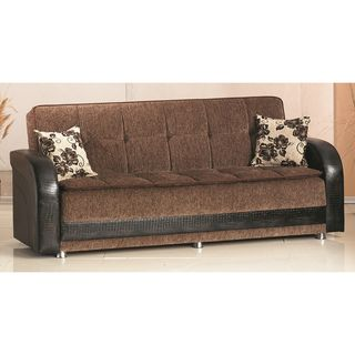 'Utica' Brown Bicast Leather and Fabric Sofa Bed Sofas & Loveseats