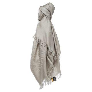 Fendi Ivory Oversized Zucca Silk and Wool Wrap Fendi Designer Scarves & Wraps