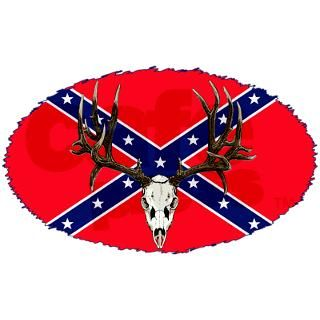 Rebel flag mule deer 38.5 x 24.5 Oval Wall Peel by saltypro_shop