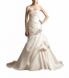 GEORGE BRIDE New Style Strapless Mermaid Ruched Beaded Satin Wedding Dress: Clothing