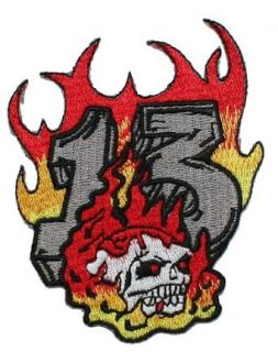 Skull in Flames Number 13 Embroidered iron on Motorcycle Biker Patch: Clothing