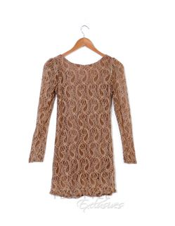 Long Sleeve Lace Top, Beige , One Size   SO Central