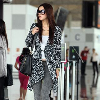 Leopard Print Chiffon Cardigan with Sash, Black , One Size   SO Central