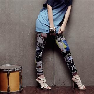 Magazine Print Leggings, Gray , One Size   PUFII