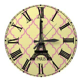 French Eiffel Tower Paris Roman Numerals Pink Yellow Quatrefoil Modern Style Modern Style Round Wall Clock 11 Inch Large Numbers Made in USA