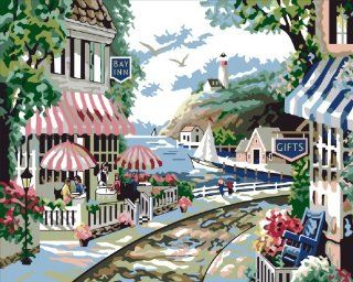 Seaside vista acrylic (2013 New DIY paint by number 16*20'' kit) Arts, Crafts & Sewing