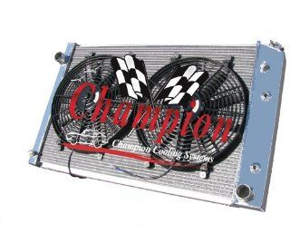 "2 Row All Aluminum Replacement Radiator AND 14"" Dual Fans for the 1973 1991 Chevy/GMC Blazer/Jimmy, 1973 1987 Chevy CK Series Trucks, 1973 1991 Chevy Suburban,   (Engine Size Specific Please Specify Year & Engine Size When Ordering; 250ci V8, 305"