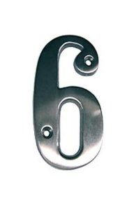 Taymor 25 SN66 25 BN Series Solid Brass 6 Inch House Number, 6, Satin Nickel: Home Improvement