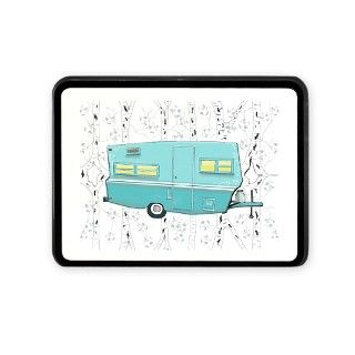 Aqua Glamping Vintage Travel Trailer Hitch Cover by salzanos