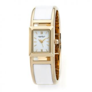 Caravelle New York by Bulova Ladies' White and Goldtone Bangle Watch