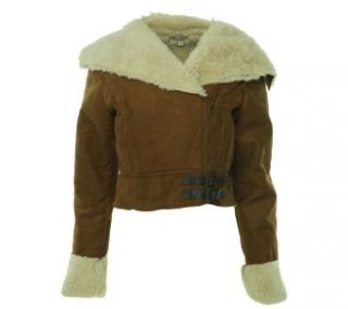 J J Winter Junior's Cropped Fleece Lined Cropped Jacket Tobacco Combo M: Clothing