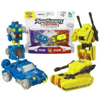 Hasbro Year 2005 Transformers Cybertron Series 2 Pack Mini Con Class 2 1/2 Inch Tall Robot Action Figure   Decepticon PAYLOAD (Vehicle Mode: Pick Up Truck) Versus Autobot ASCENTOR (Vehicle Mode: Battle Tank): Toys & Games