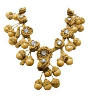 """""""Sahel"""" Knit Beaded Soft Jewelry Statement Necklace Antique Gold Mustard Clothing"""