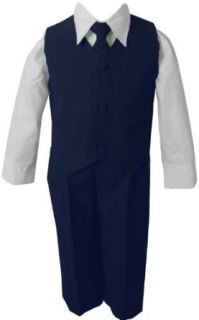Navy Blue & White Baby Boy & Boys Complete Special Occasion Suit, Shirt, Tie, Vest, Pants (5, Navy) Clothing