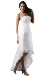 Sunvary Lace Hi lo Beach Wedding Dress for Bride 2013 White at  Women�s Clothing store
