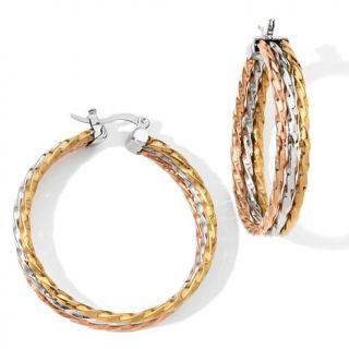 Stately Steel Rope Design Tri Color Triple Hoop Earrings