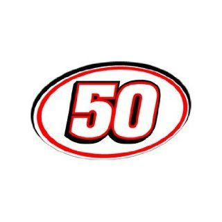 50 Number   Jersey Racing Window Bumper Sticker Automotive
