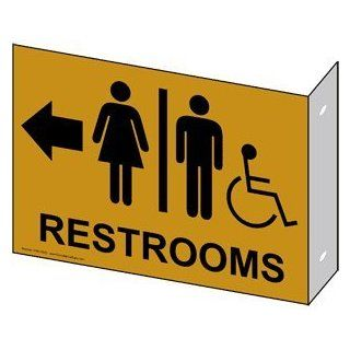 Restroom Public / Private Sign RRE 7025Proj Black_on_Gold