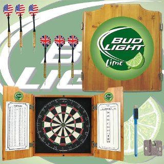 Bud Light Lime Dart Cabinet Includes Darts and Board   Game Room Products Dart Cabinets Beer Logos : Everything Else