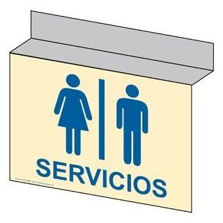 Restroom Public / Private Sign RRS 6980Ceiling Blue_on_Ivory