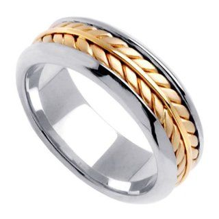 Two Tone Braided Wedding Ring for Women (7.5mm): Jewelry
