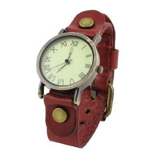 Woman Single Pin Metal Buckle Watchband Wrist Watch Crimson Bronze Tone: Watches