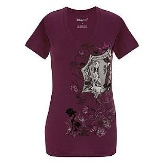 Disney Organic Vee Neck Sally and Jack Skellington Tee for Women: Clothing
