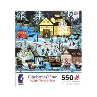 Jane Wooster Scott american folk art Christmas Time 550 Piece Puzzle MADE IN USA PUZZLE Toys & Games