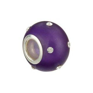 Clevereve's Kera Sterling Silver Glass Purple Bead With Crystal Accents: Kera Beads: Jewelry