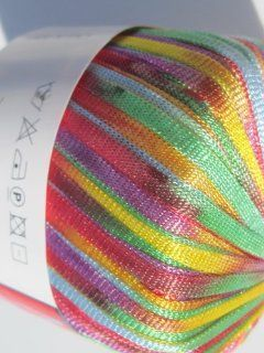Must Multi by Filati FF Ribbon Yarn #103 Red Yellow Purple Blue Mint Variegated: Arts, Crafts & Sewing
