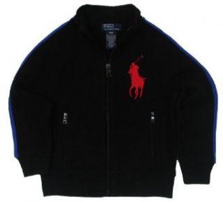 Polo Ralph Lauren Boys Big Pony Full Zip Track Jacket   7   Black/Blue Clothing