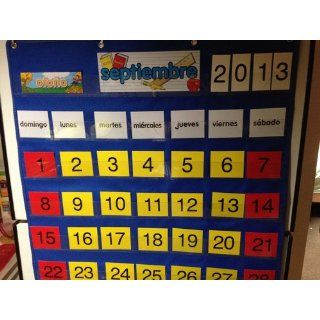 Calendar Pocket Chart   English/Spanish: Toys & Games