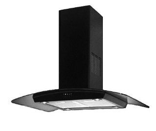 "Island Range Hood Black Curved Glass 36"" KA 113 BLK. Made in Italy.: Home Improvement"