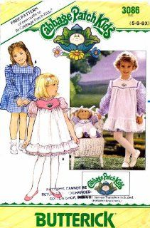 Butterick 3086 Sewing Pattern Cabbage Patch Kids Girls Dress Pinafore Doll Size 5   6   6X: Arts, Crafts & Sewing