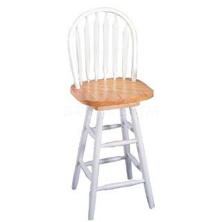 24 Inch Arrow Back Windsor Bar Stool with Swivel Seat in Natural / White   Coaster   Barstools With Backs