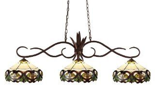 Z Lite 129BRZ Z14 33 Chicago Three Light Billiard, Metal Frame, Bronze Finish and Multi Color Tiffany Shade of Glass Material   Ceiling Pendant Fixtures