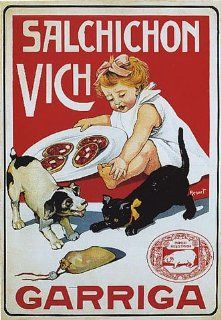SALCHICHON VICH GIRL DOG CAT GARRIGA SPAIN SMALL VINTAGE POSTER   Prints