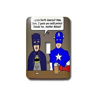 lsp_3821_1 Rich Diesslins Funny General Cartoons   Super Hero Parody with Batman and Captain America at the bar   Light Switch Covers   single toggle switch
