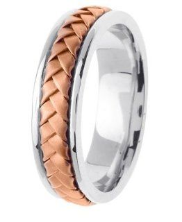 L.A. Wedding 14KLAW142 S11.5 7mm 14K Two Tone Handmade Wedding Ring   Size 11.5: L.A. Wedding: Everything Else
