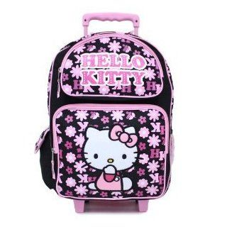 Hello Kitty Rolling Backpack   Toddler Size Kitty in Pink Outfit Rolling Backpack: Toys & Games