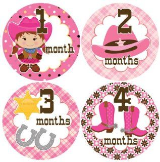 Cowgirl #138 Girl Baby Month Stickers for Bodysuit: Baby