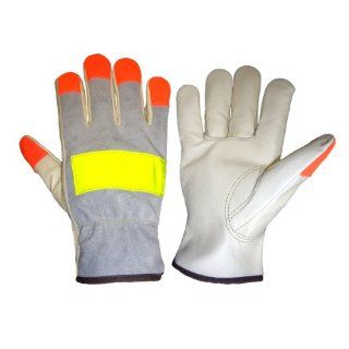 Global Glove 3200HV Cow Grain Leather Premium Grade High Visibility Driver Glove, Work, Extra Large, Orange/Yellow (Case of 72): Industrial & Scientific