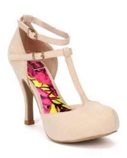 Qupid Trench 145 Women Suede T Strap Almond Toe Pump   Nude: Shoes