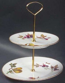 Royal Worcester Evesham Gold (Porcelain) 2 Tiered Serving Tray (Salad & Bread/Butter Plate), Fine China Dinnerware: Kitchen & Dining