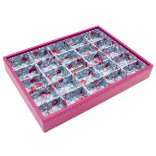 !!! STACKER SALE !!! 50% OFF !!! LAST CHANCE TO BUY !!! STACKERS 'CLASSIC SIZE' Hot Pink 25 Section STACKER Jewelry Box with floral Lining.   Jewelry Trays