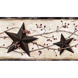 Country Barn Stars and Berries Wallpaper Border   Home Trends Wallpaper Border