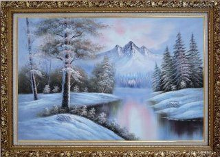 Snow Covered River and Mountain Scenery Large Oil Painting, with Ornate Gold Wood Frame 30x42 Inch